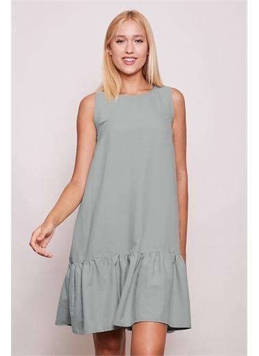 Jument İç Göstermez Viskon Poplin Geniş Sıfır Yaka Kolsuz Eteği Fırfırlı Elbise -Tarçın Yeşil